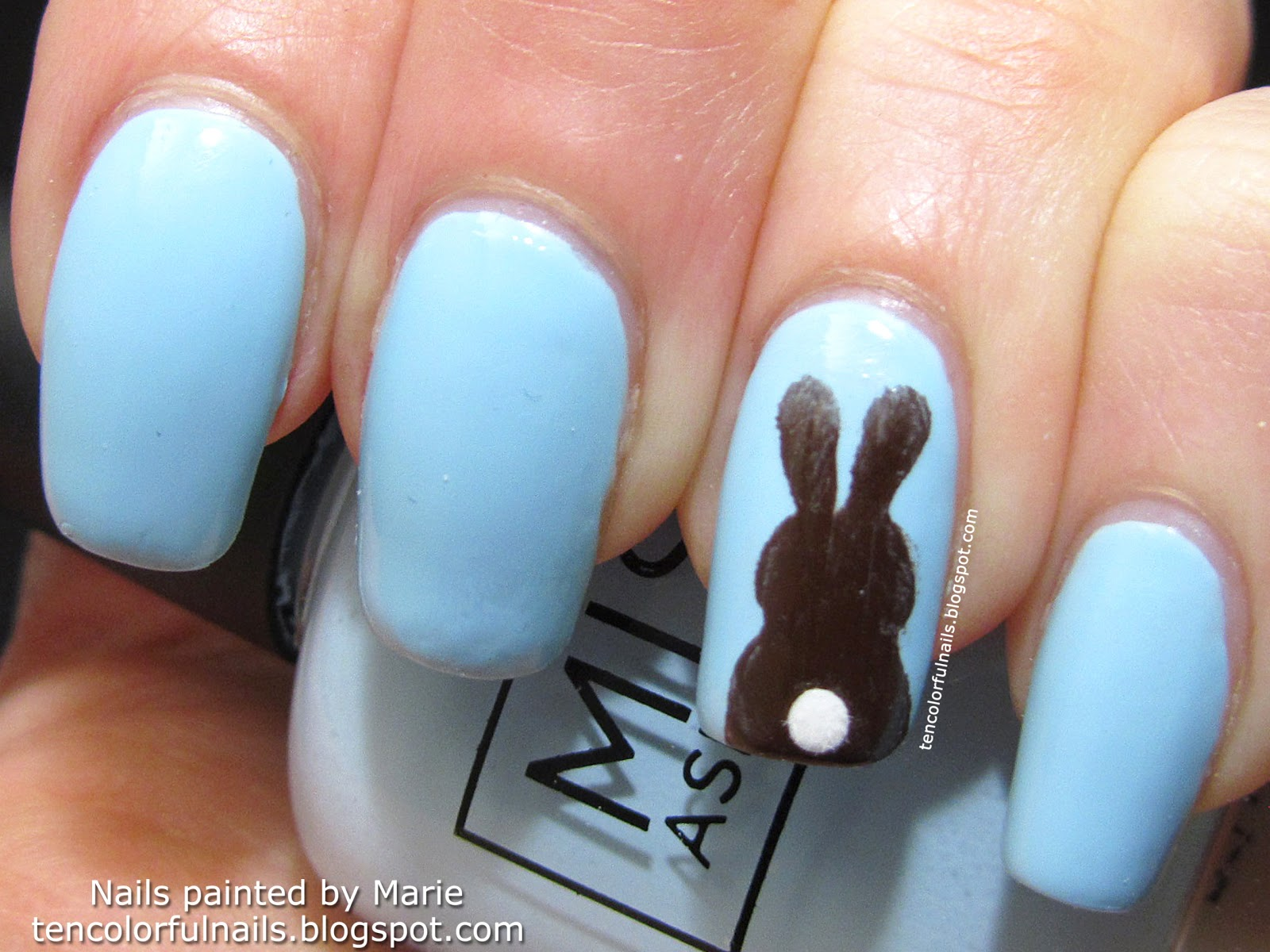 Chocolate Bunny Nail Art sideview for blog
